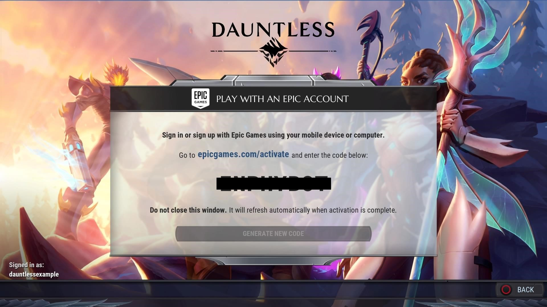 Linking your Dauntless Account, Console Account, and Epic Games