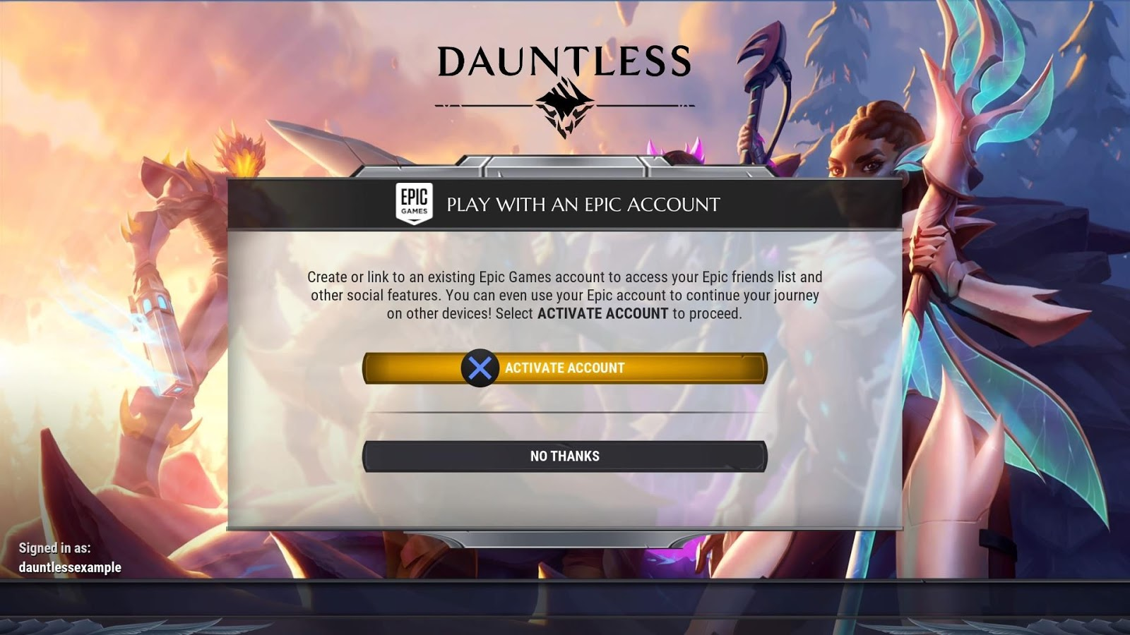 Linking Your Dauntless Account Console Account And Epic Games Account Dauntless Support